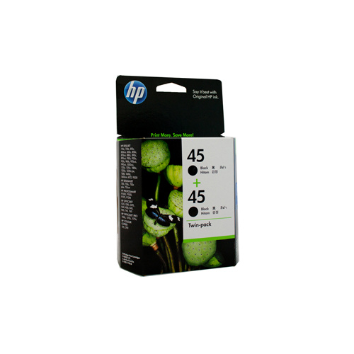 HP #45 Black Ink Cartridge Twin Pack - 883 pages each