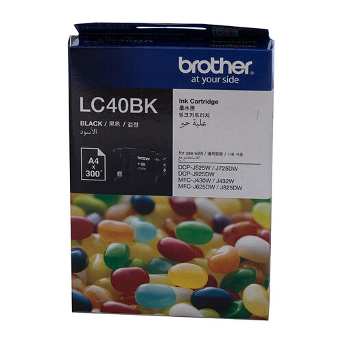 Brother LC-40BK Black Ink Cartridge - 300 pages