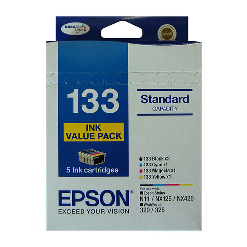 Epson #133   (133) Ink Value Pack contains BK x 2CM & Y - yields as above