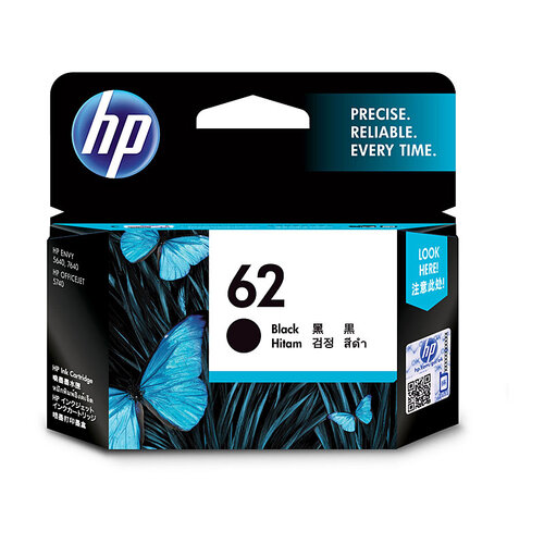 HP #62 Black Ink Cartridge - 200 Pages