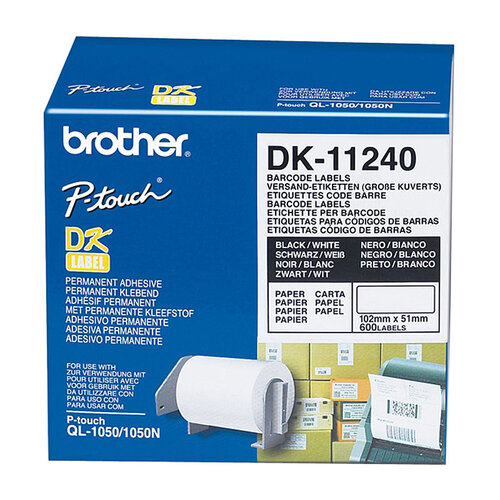 Brother DK11240 White Label - 102mm X 51mm - 600 per roll