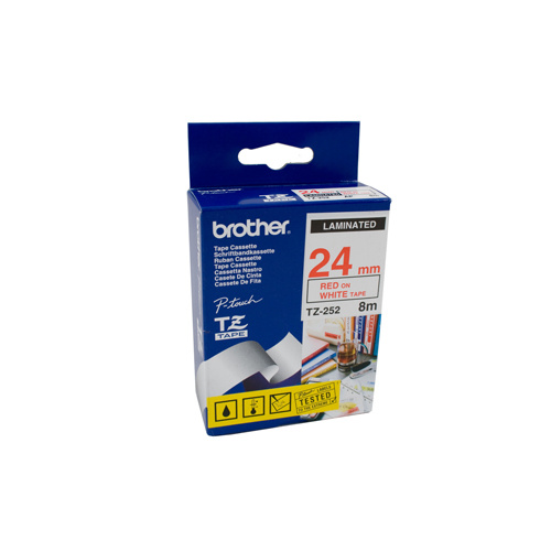 Brother 24mm Labelling Tape Red on White Tape -
